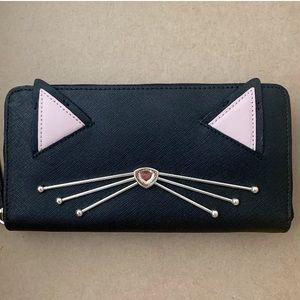 Kate Spade NWT Jazz Things Up Black cat wallet